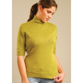 Alpaca sweater with turtle neck and short sleeves