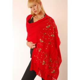 Embroidered Stole With Fringes
