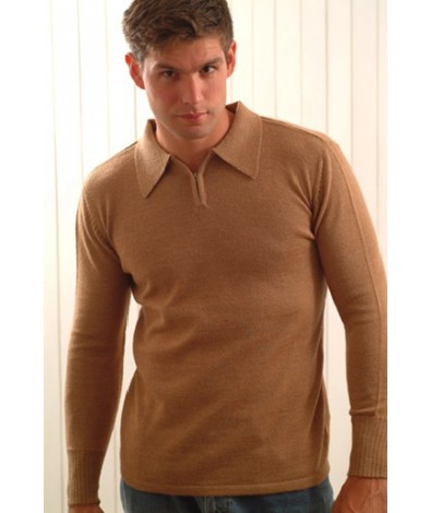 Alpaca Sweater for Men with a Polo Neck