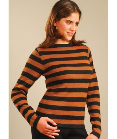 Alpaca Striped Sweater with a Crew Neck