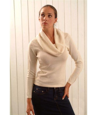 Alpaca Sweater with a Cowl Neck