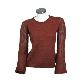 Alpaca sweater with crew neck and a light stitch