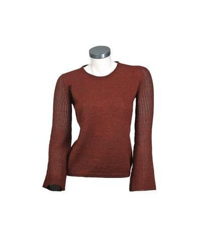 Alpaca sweater with crew neck and a light stitch