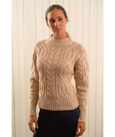 Alpaca sweater with a large cable design
