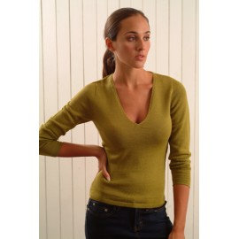 Alpaca sweater with deep V neck
