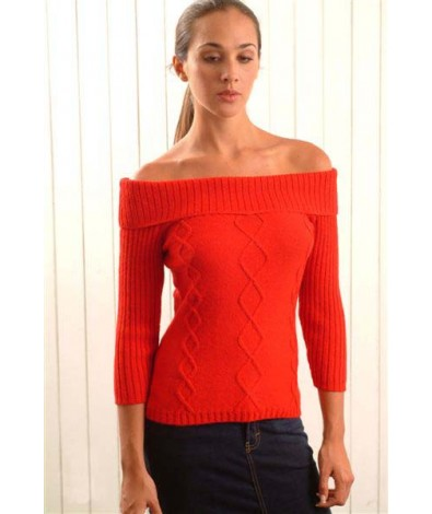 Sweater with a Shawl Neck and Short Sleeves