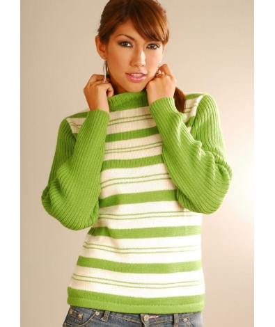 Striped sweater and mock neck