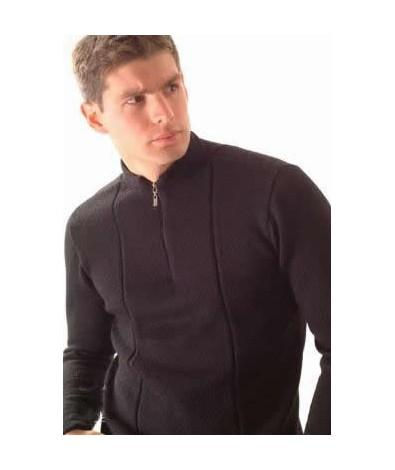 Sweater with short zipper