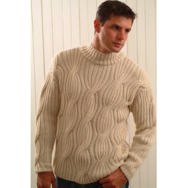 Sweater with Rib Cables and a Mock Neck