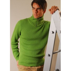 Ribbed mock neck sweater with zipper