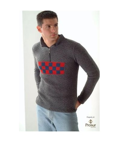 Mock neck sweater with chest design
