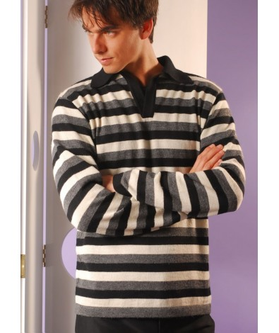 Stripped Sweater with Polo Neck