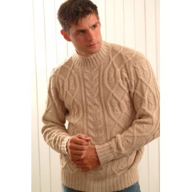 Alpaca Sweater with Rib Cables