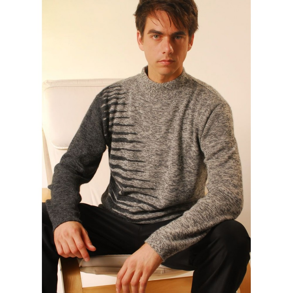 Mens Ribbed Sweater - American Alpaca Clothing
