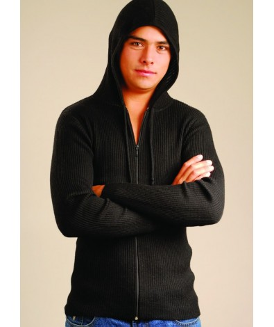 Light Ribbed Cardigan with Hood.