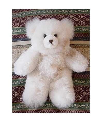 "White Alpaca Teddy Bear 12"""
